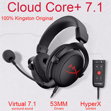 Kingston Original Gaming Headphones HyperX Cloud Core+7.1 Wired Heandset With a Microphone For PC PS4 Xbox One Nintendo Switch