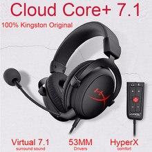 Kingston original gaming headphones hyperx nuvem núcleo + 7.1 heandset com fio com um microfone para computador ps4 xbox um nintendo switch