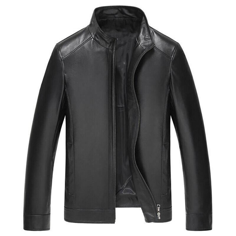 Oeak casaco de couro dos homens do inverno jaqueta couro masculino jaqueta de couro para homens gola de couro da motocicleta leve outwea