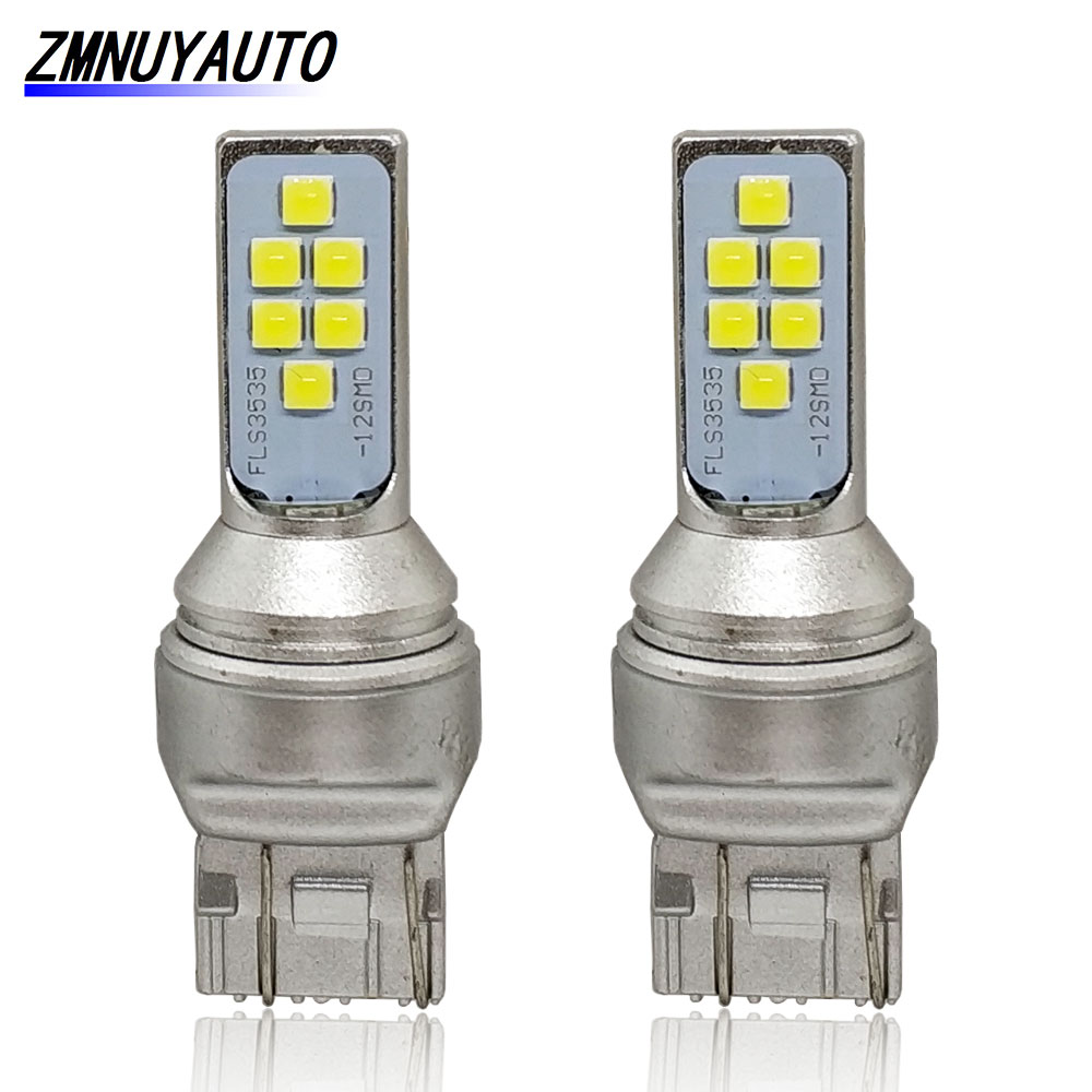 2PCS T20 7440 7443 LED W21W WY21W W21/5W Led Bulb 1400Lm Car Brake Light Reverse Lamp Auto White Red Amber 12V 24V image