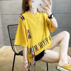 #0613 Yellow White Red Cotton T Shirt Women Short Sleeves Harajuku Streetwear T Shirts Ribbons Letter Printed Womens Tee Shirts