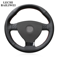 Artificial Leather Steering Wheel Cover DIY Black Hand-stitched Car Steering Wheel Covers for Volkswagen VW EOS MK5 2005-2008