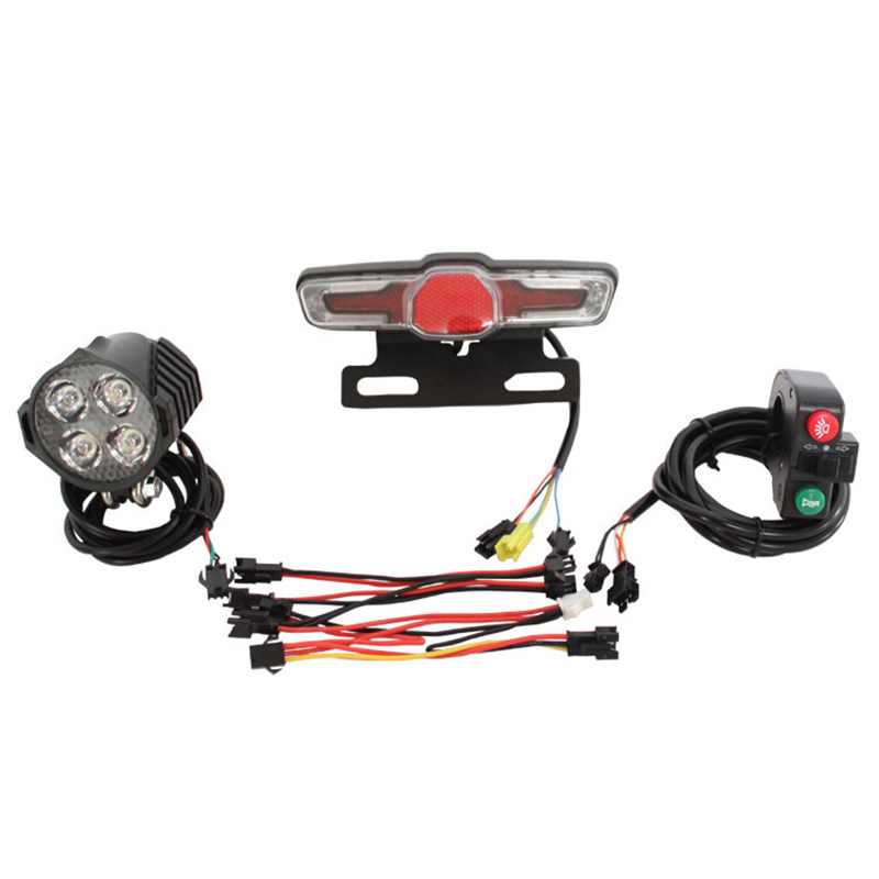 12V 80V 12W LED Electric Bicycle Headlight Horn Tail Light Switch Assembly Rear light with brake & steering durable bike parts