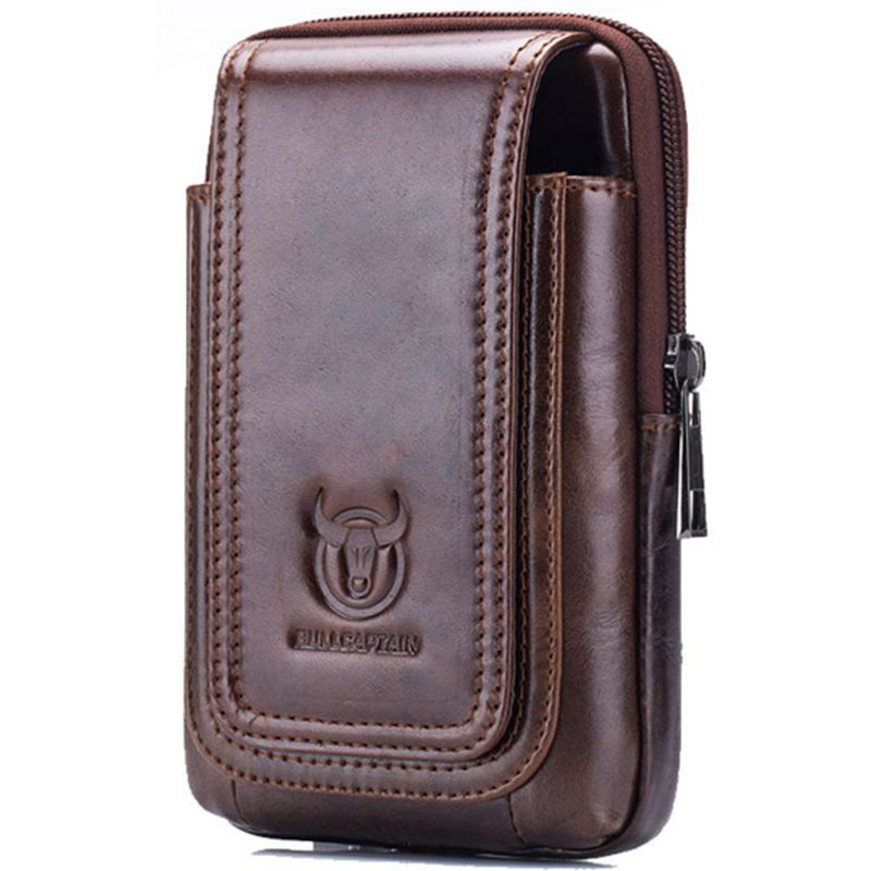 BULLCAPTAIN MEN'S Leather Cigarette Pure WAIST Bag Fanny PACK Molle Small Money Phone Pocket WAIST PACK Bum Pouch PURSE