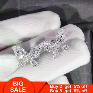 Серьги-гвоздики с бабочками из настоящего серебра 925 пробы AAAAA cz вечерние свадебные серьги, ювелирные изделия для женщин и мужчин, эффектные ...