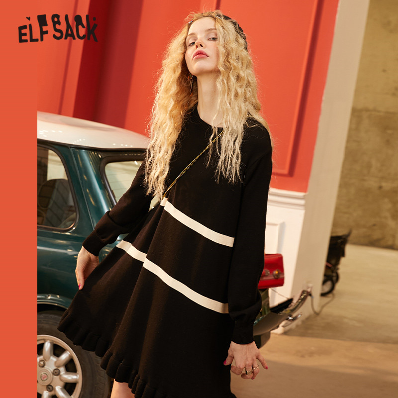 ELFSACK Black Striped Colorblock Knit Pullovers Women Dress 2020 Spring Yellow Vintage Frill Hem Long Sleeve Casual Lady Dresses