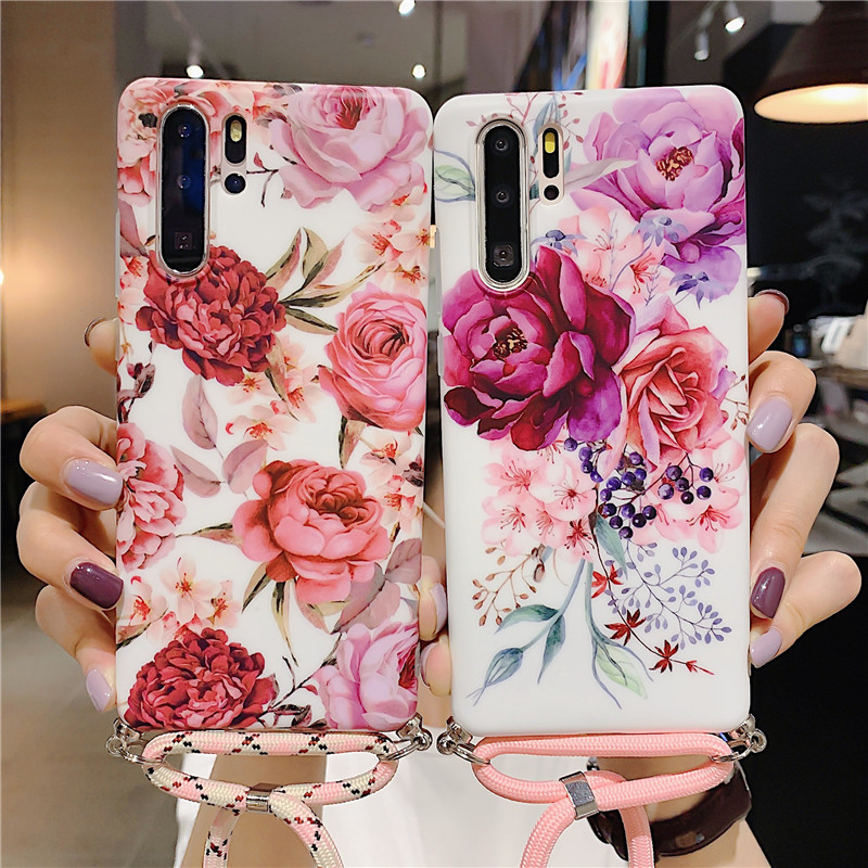 Banana leaf Flower Necklace Strap Rope Case For Samsung <font><b>S105G</b></font> S10 S10 PlusNote 8 Note 9 10 Lanyard Neck Cord Shell Phone Cover image