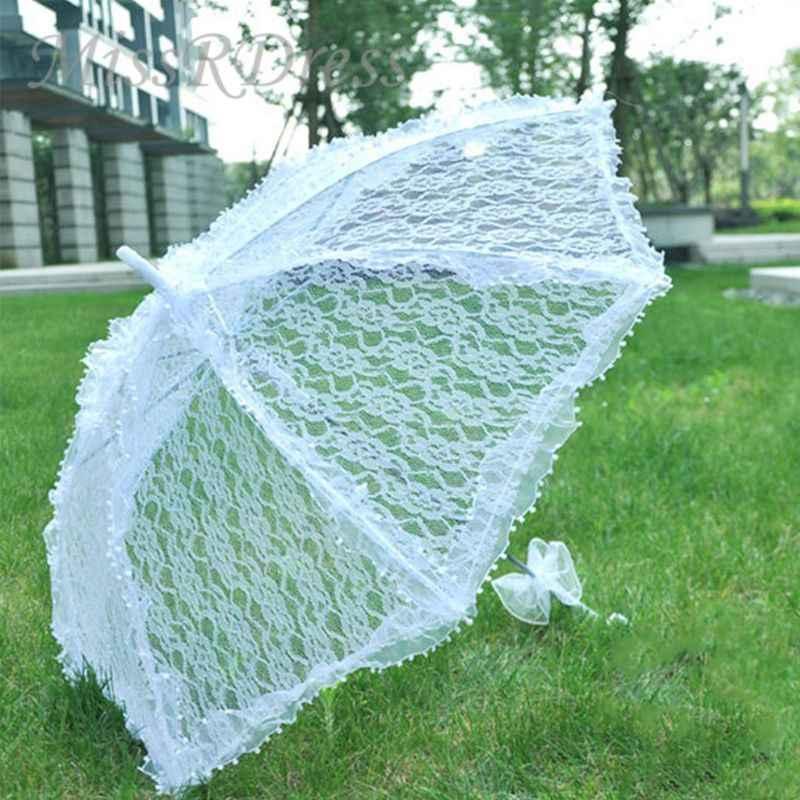シンプルなウェディング用品レース中空花嫁の結婚式の傘写真の写真撮影の小道具