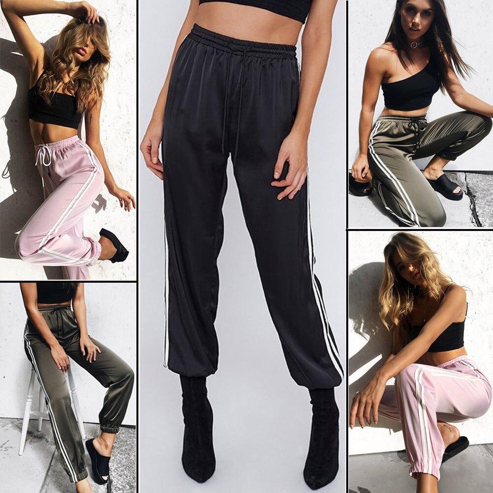 New Fashion Leggings Sweat Wear Women Joggers Casual Loose Side Striped Long Pants Sweatpants Trousers Plus Size S-XL
