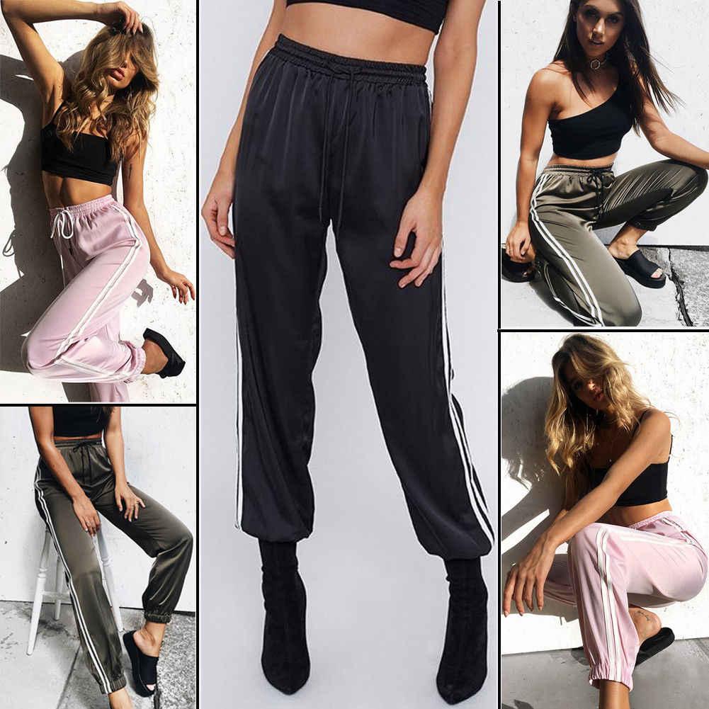 Nuove Ghette di Modo Sudore Delle Donne di Usura Jogging Casual Allentato Lato A Strisce Pantaloni Lunghi Pantaloni Della Tuta Più I Pantaloni di Formato S-XL