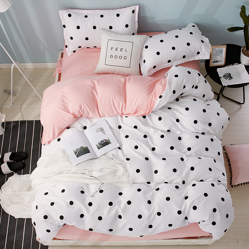 Home Textile Bedding Sets Polka Dot Pattern Bed Linens Duvet Cover Set Quilt Cover Pillowcase Pink Cute Nordic Bed 3/4pcs Queen