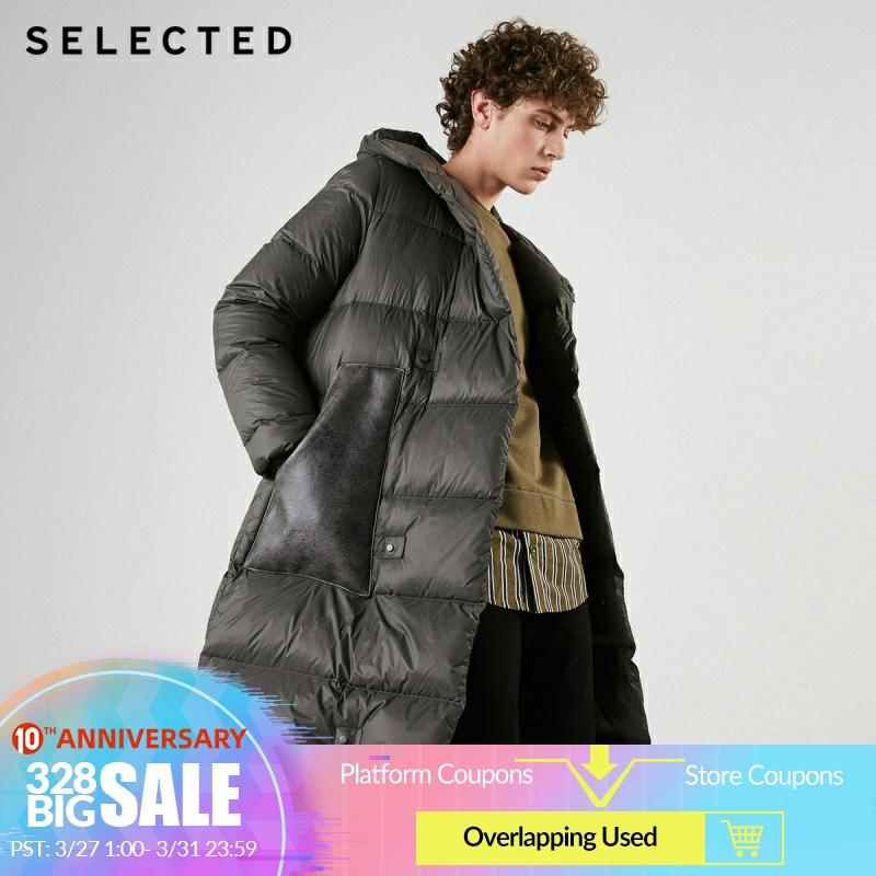 SELECTED Men's Mid-length Parka Outwear Silhouette Hooded Down Jacket Coat S|419112513