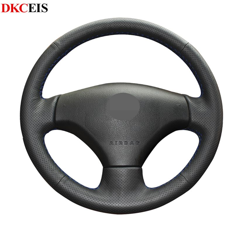 Hand-sewing Black Soft PU Artificial Leather Car <font><b>Steering</b></font> <font><b>Wheel</b></font> Covers Wrap for <font><b>Peugeot</b></font> 206 2007-2009 <font><b>Peugeot</b></font> <font><b>207</b></font> Citroen C2 image