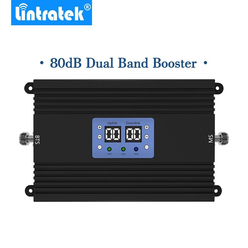 Lintratek 80db мощный усилитель сигнала GSM 4G LTE 900Mhz 1800mhz 25dBm сотовый телефон с AGC и MGC *