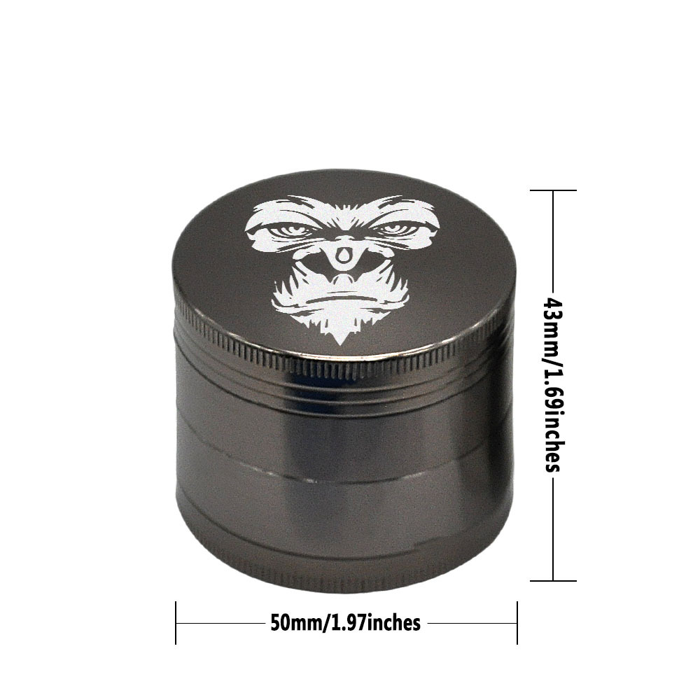 KING KONG Herb Grinder 4 Layers 50 MM Zinc Alloy With Sharp Diamond Teeth Tobacco Metal Herb Crusher Spice Mill Muller 1
