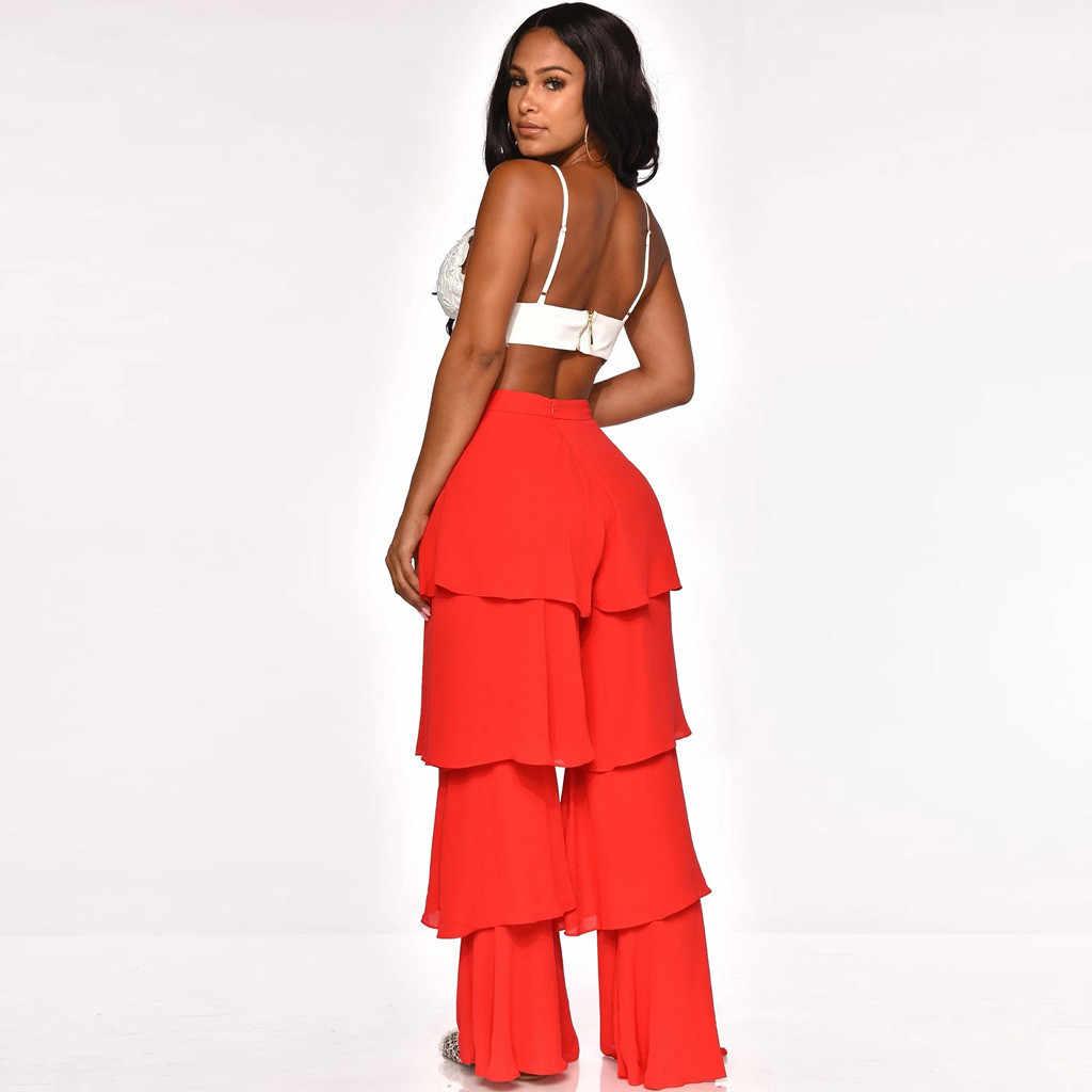 Casual Ruffle Bell-Bottom Broek Vrouwen Patchwork Losse Longs Broek Flare Dans Broek Pantalones Mujer # G30