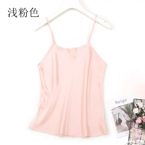 Image 3 - Camisola 100% tirantes finos de seda para mujer, camiseta sin mangas, talla M L JN003