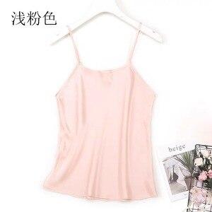 Image 3 - Mulher 100% de seda espaguete cinta camisola tanque top colete sleepwear tamanho m l jn003