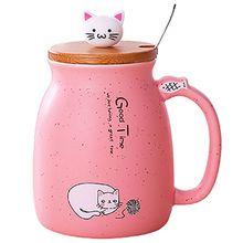 New sesame cat heat-resistant cup color cartoon with lid kitten milk coffee