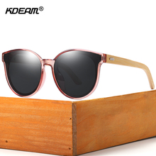KDEAM Hand-made Polarized Cat Eye Sunglasses Natural Wooden Oversized Steampunk Women Sun Glasses Bamboo oculos With Box