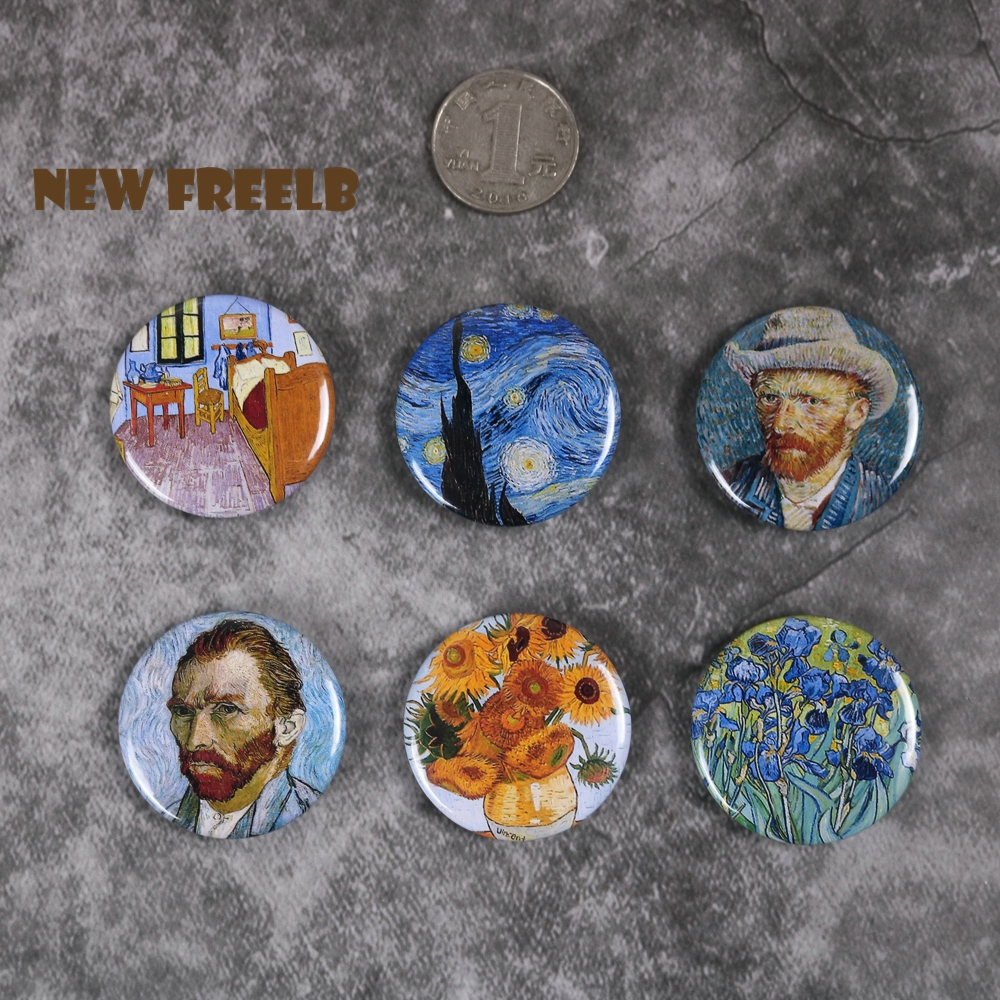 NEW FREELB 6pcs/set 1.5 Inch Van Gogh Pin Buttons Brooches Collection Art Oil Painting Badge Pinback Chest Jewelry For Unisex