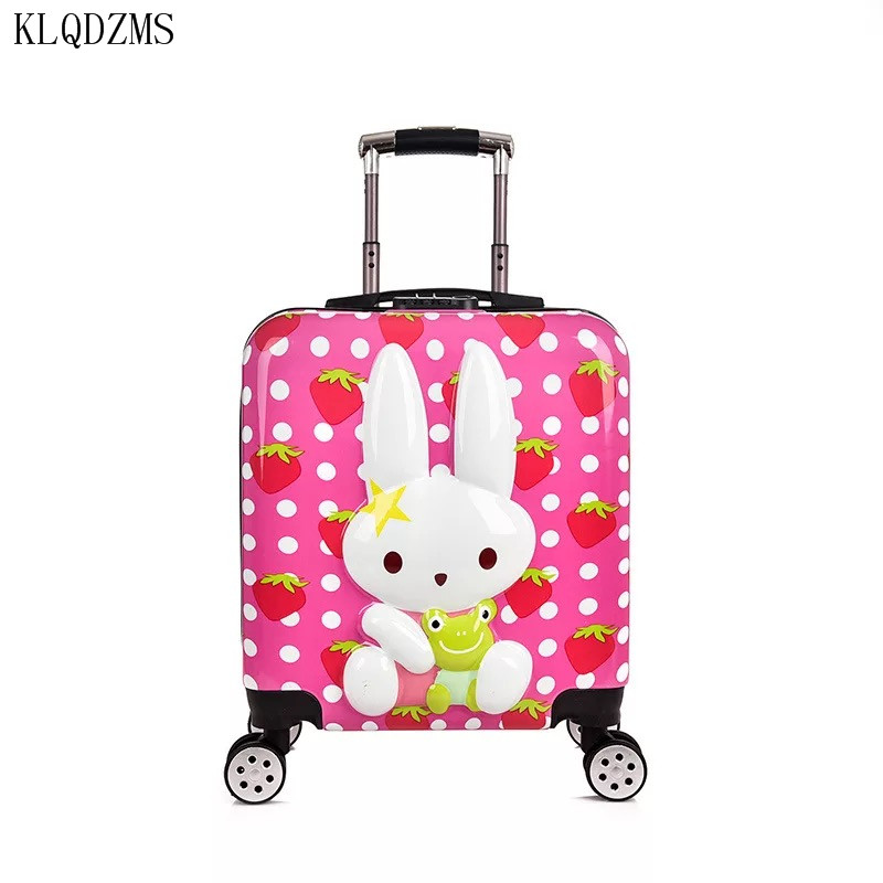 KLQDZMS 20inch Kids Carry On Rolling Luggage Spinner Children Cute Cartoon Trolley Suitcase On Wheels
