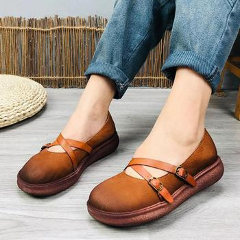 Johnature Pumps Women Shoes Genuine Leather 2020 New Spring Platform Heels Buckle Strap Round Toe Casual Retro Ladies Shoes