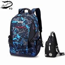 Школьный рюкзак fengdong для мужчин внешний зарядка через usb