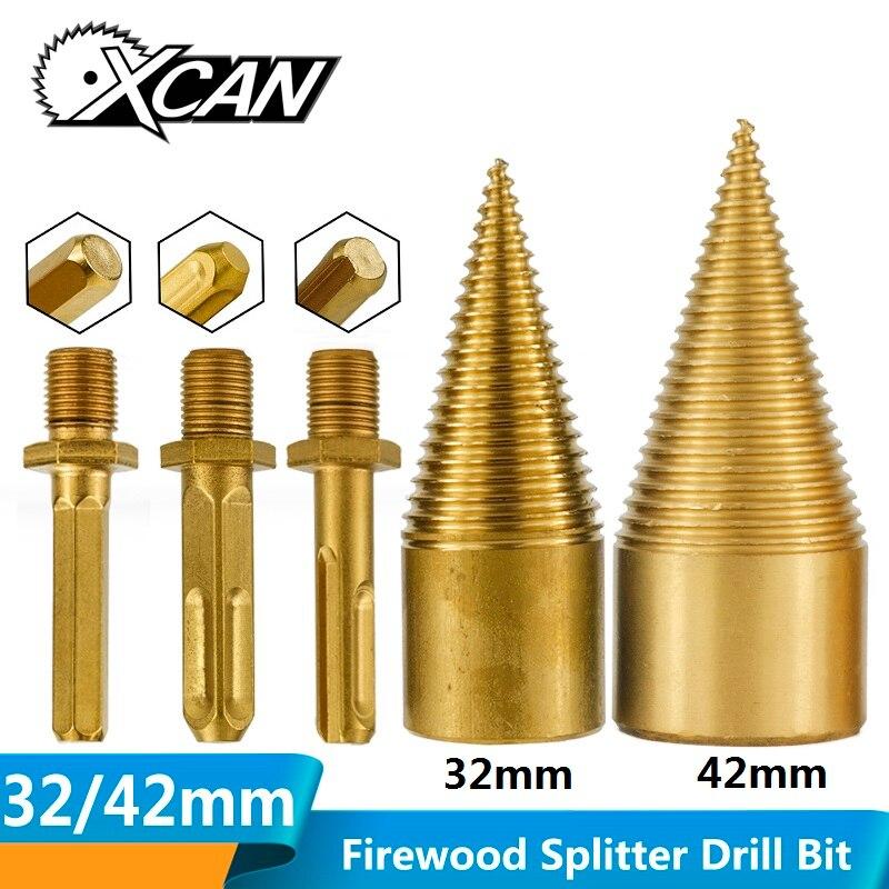 XCAN 1pc 32mm 42mm TiN Coated Cone Drill Bit HSS Firewood Splitter Drill Bit Wood Breaker Wood Drill Bit Firewood Chopper