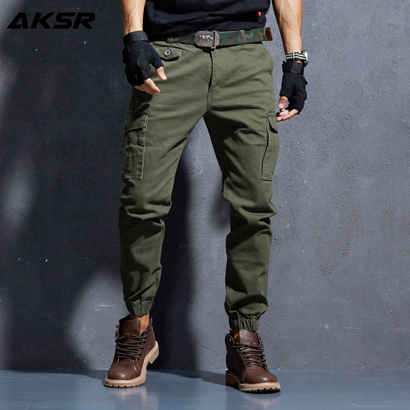 AKSR Men's Joggers Casual Military Cargo Pants Joggers with Pockets Flexible Tactical Joggers Pants Men Streetwear trousers