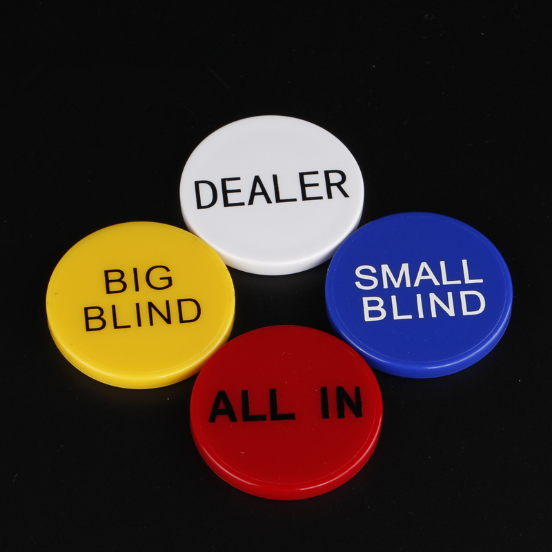 HOT SALE Acrylic Round Plastic Dealer Coins SMALL BLIND/BIG BLIND/DEALER/All IN Texas Poker Chip Set Coin Buttons Game