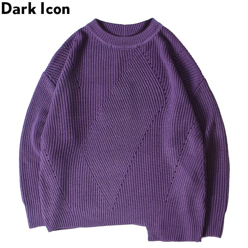 Sweater Men Pullover Irregular Solid 3-Colors Hemline Loose Dark-Icon