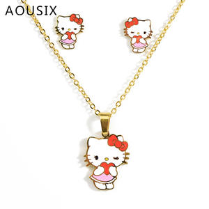 Necklace Earrings Gift Cat Stainless-Steel Hello-Kitty Kids Cartoon Children Golden Cute