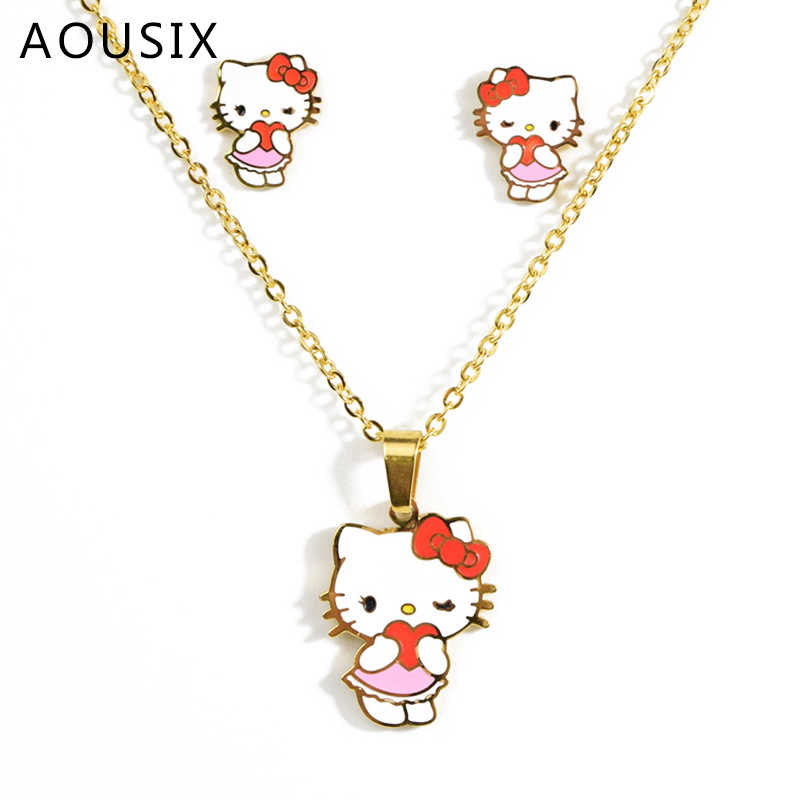 Cartoon Hallo Kitty Halskette Kinder Ohrringe Halskette Set Goldene Nette Cartoon Katze Halskette Kinder Geschenk Edelstahl Halskette
