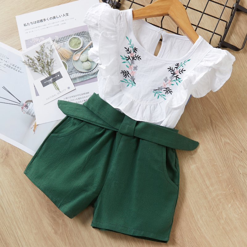 Menoea Girls Suits 2020 Summer Style Kids Beautiful Floral Flower Sleeve Children O-neck Clothing Shorts Suit 2Pcs Clothes 14