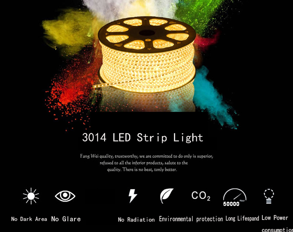 Hb032f3ff7b274fb9925995faafc3aa95P Super bright LED Strip 220V IP67 Waterproof 120LEDs/M SMD 3014 Flexible Light + Power Plug For outdoor garden tape rope