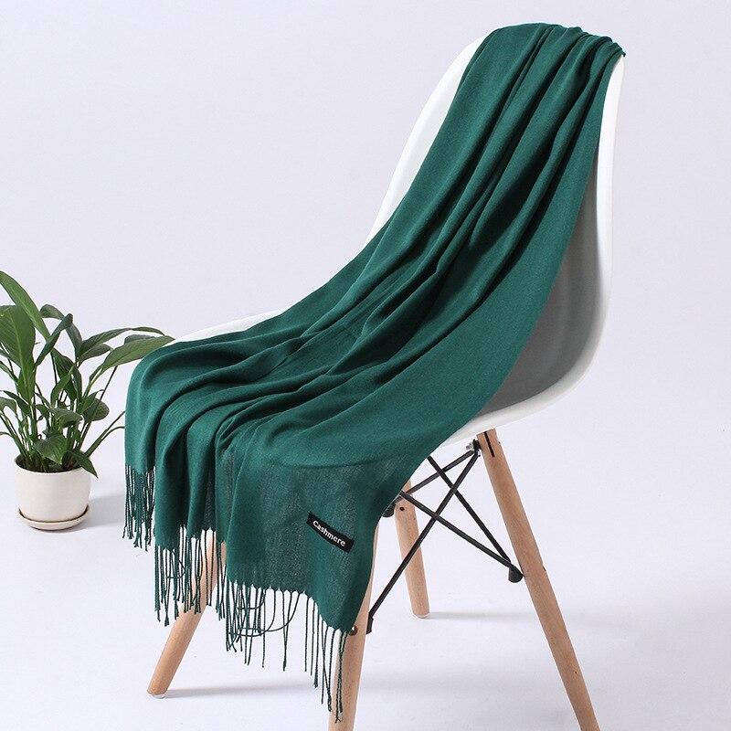 Однотонный кашемировый шарф для женщин новые длинные мягкие шали и палантины пашмины модные хиджаб с кисточками женские шейные шарфы - Цвет: 110g deep green