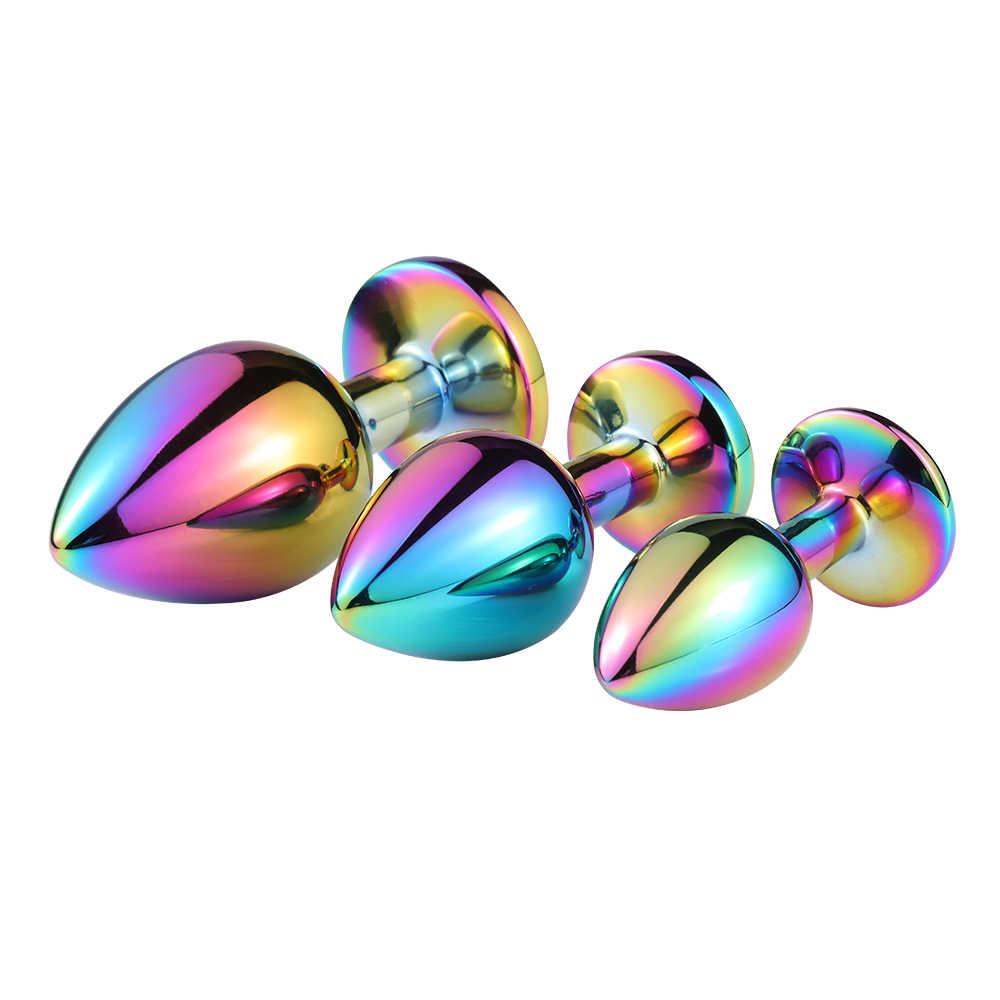 Anale Perline di Cristallo Dei Monili Rotondo Butt Plug Stimolatore Giocattoli Del Sesso Dildo In Acciaio Inox Spina Anale Per Gay Coppia di Adulti Gioco