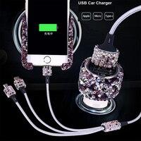 Di Cristallo del Rhinestone Auto Accendisigari Veloce di Ricarica 3 in 1 USB Cavo Dati Per il iPhone Android Micro Tipo C Mobile cavi del telefono