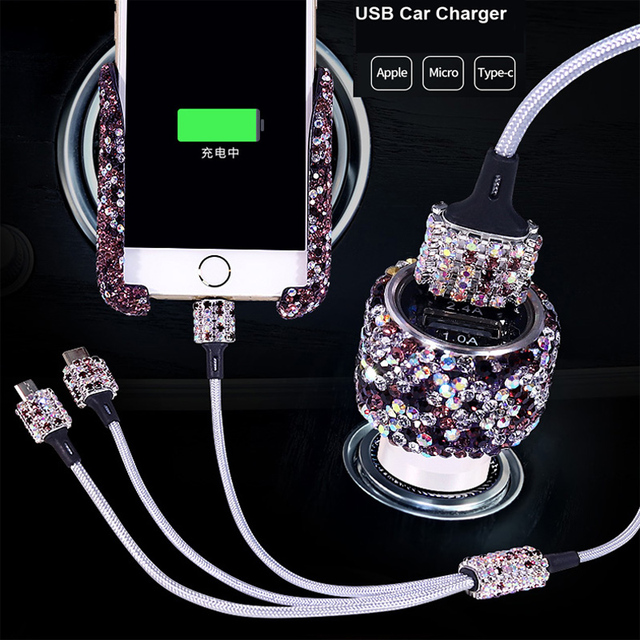 Rhinestone Crystal Car Cigarette Lighter Fast Charging 3 in 1 USB Data Cable For iPhone Android Micro Type C Mobile Phone Cables