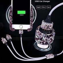 Taklidi kristal araba çakmak hızlı şarj 3 in 1 USB veri kablosu iPhone Android için mikro tip C cep telefon kabloları