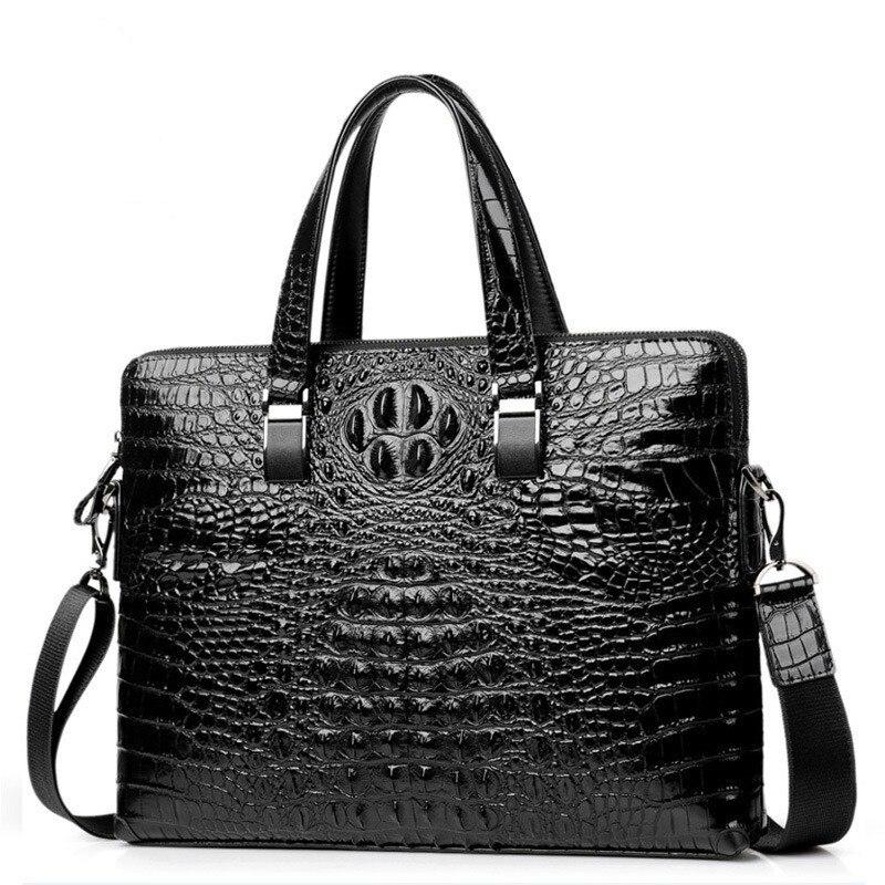 Men's Crocodile Leather Bag Men's Briefcase Office Bags For Men Bag Man Genuine Leather Laptop Bags Male Tote Briefcase Handbag