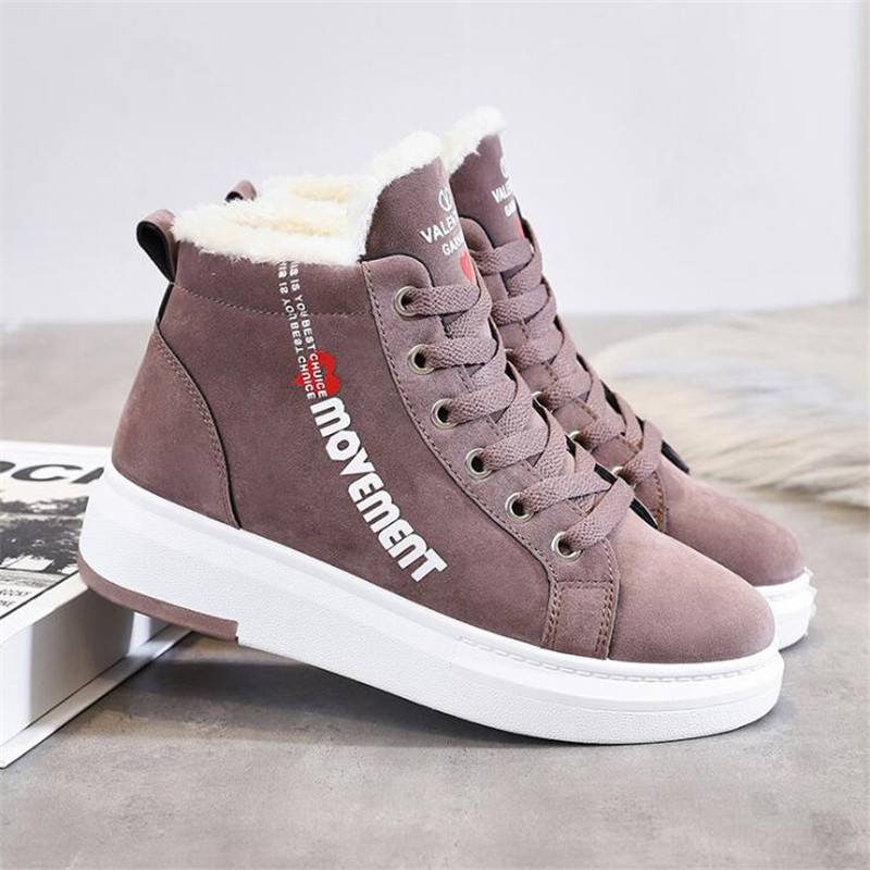 Cotton Shoes Female New Women's Boots 2019 Winter New Wild Warm Student Casual Shoes INS Thick High-Top Snow Boots 34
