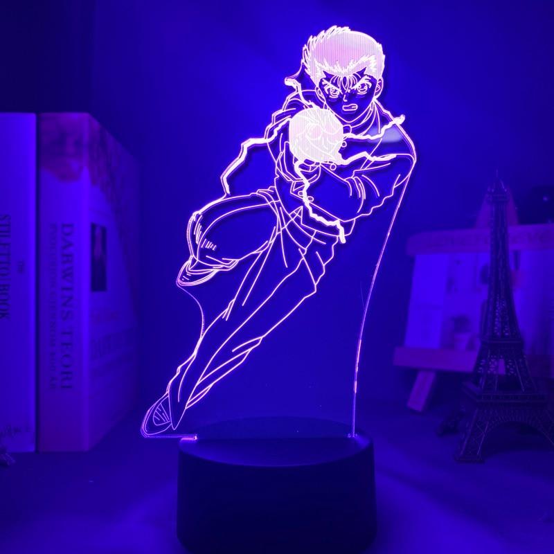 Hb03320a6852c4099aae89510acfd914cj Luminária Yu yu hakusho yusuke urameshi conduziu a luz da noite para o quarto decoração presente colorido nightlight anime 3d lâmpada yu yu hakusho