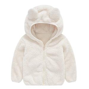 Image 2 - Soft Warm Polar Fleece Hooded Child Coat Baby Girls Boys Jackets Children Outerwear Clothing For 70 120cm Spring Autumn