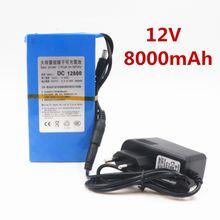 100% Durable DC 12V 8000 MAH Haute Capacité Au Lithium-ion rechargeable batterie Chargeur secteur (Prise US/EU Offre Spéciale Promotion chute Libre