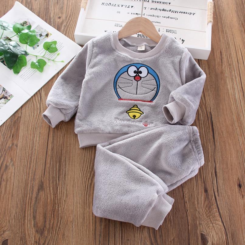 New Autumn Winter Baby Clothes Pajamas Sets Girls Pajamas Children Warm Flannel Fleece Catoon Bear Kids Sleepwear Home Suit 1-6Y 6
