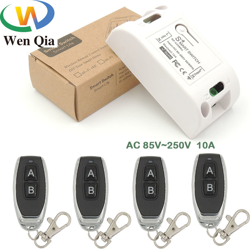 <font><b>433MHz</b></font> <font><b>rf</b></font> Universal Wireless <font><b>AC</b></font> 110V <font><b>220V</b></font> 10Amp 2200W <font><b>1CH</b></font> <font><b>Relay</b></font> Receiver and Remote Control Lighting Switch For Bulb Lamp Switch image