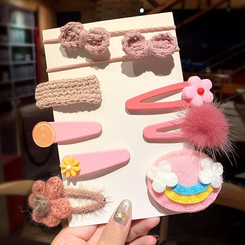 1Set Girls Cute Cartoon Flower Fruits Geometric Hairpins Children Sweet Hair Ornament Headband Hair Clip Kids Hair Accessories