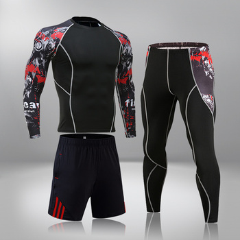 High-End Men's Brand Sports Riding 3 Set MMA Tactical Leggings Solid Color Clothing Compression Fitness Long Johns Winter Suit 5